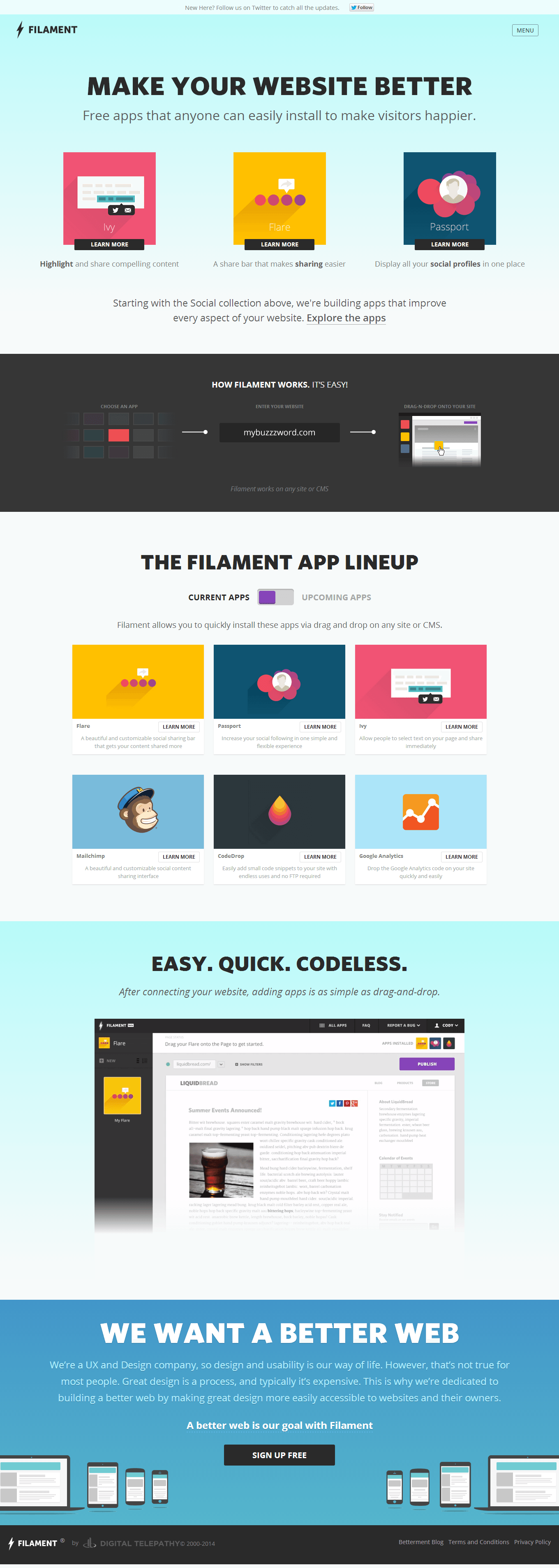 Filament - Apps anyone can install to make website visitors happier