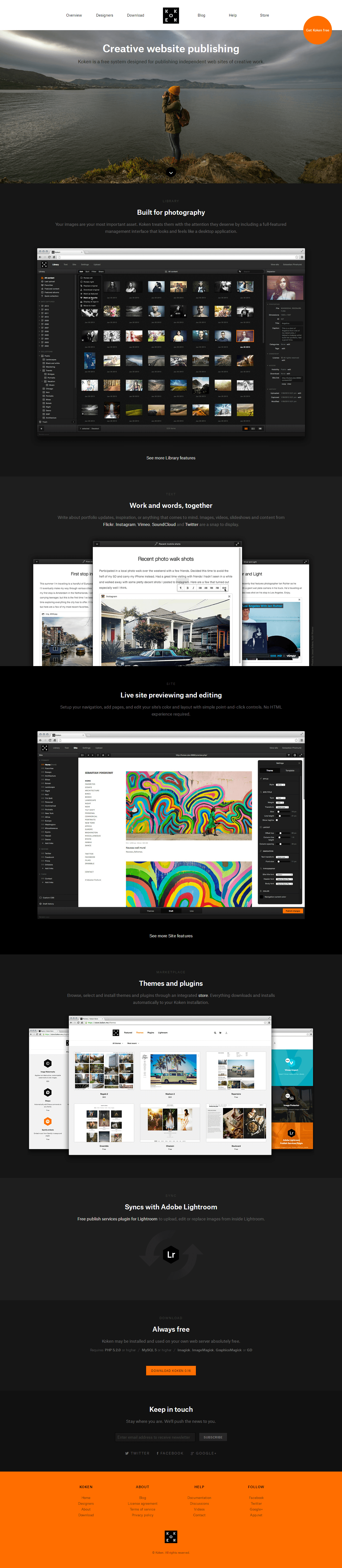 Koken is a free website publishing system developed for photographers, designers and creatives